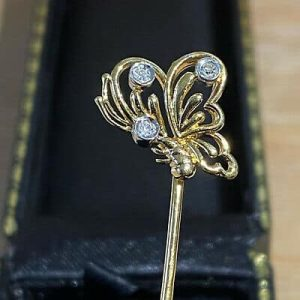 Vintage 18ct, 18k, 750 Gold & Diamond Butterfly, stick, tie, cravat, hat pin