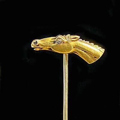 Edwardian 14ct, 14k, 585 Gold Diamond Horse head, equestrian stick/tie/lapel pin