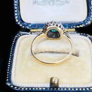 Vintage 18ct, 18k, 750 Gold Emerald & Diamond Cluster engagement ring