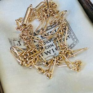 "Edwardian 9ct, 9k, 375 Rose Gold fancy link chain, length 18"" / 46cm, Circa 1901"