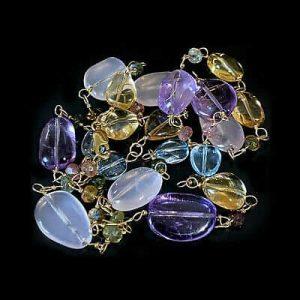 Vintage 9ct, 9k, 375 Gold, Rose quartz, Amethyst, Citrine & Quartz necklace
