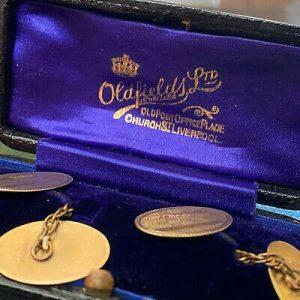 Edwardian, 9ct, 9k, 375 Gold engine turned engraved cufflinks in original box