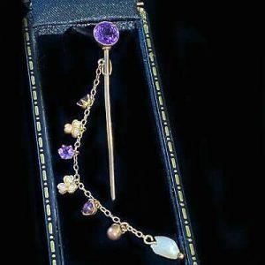 Art Nouveau 15ct, 15k, 625 Gold Amethyst & Pearl, cloak, stick, tie, cravat pin