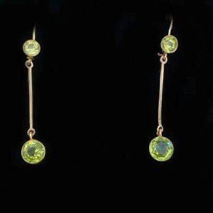 Edwardian 9ct,9k, 375 Rose Gold Peridot drop Earrings with shepherd hook fitting