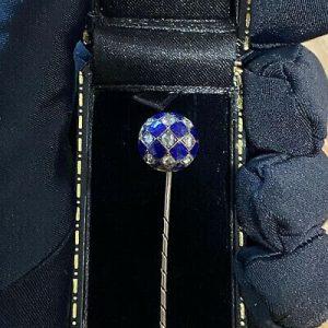 Victorian 15ct, 15k, 625 Gold, Guilloche Enamel & Diamond Stick,tie,cravat,pin