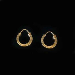 Vintage 9ct, 9k, 375 Gold, hoop Earrings, Width: 14mm, fully hallmarked.