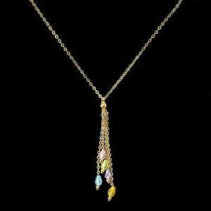 Pretty, vintage 9ct, 9k, 375 Gold lariat & Crystal tassel necklace