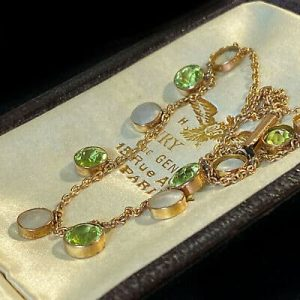 Exquisite Victorian 9ct, 9k, 375 Gold Peridot & blister Pearl riveria necklace