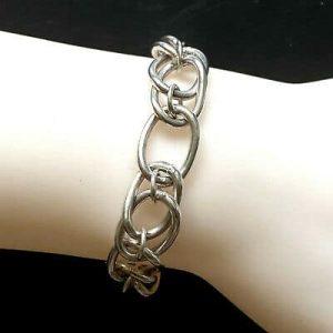 "Vintage, Sterling Silver chunky, double link bracelet, 7.75"" / 20cm, London"