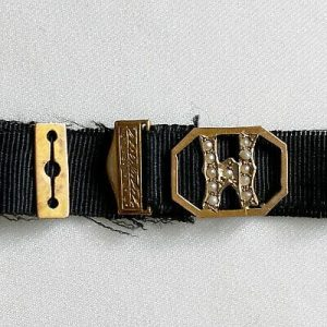 Victorian Mourning Bracelet Ribbon, 9ct Gold & Seed Pearl mounted Initial M
