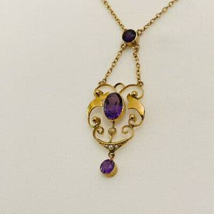 Art Nouveau 9ct, 9k, 375 Gold Amethyst and seed pearl lavaliere, necklace C1895