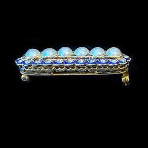 Victorian high carat Gold Guilloche Enamel, Diamond & Pearl, bar brooch, C1890