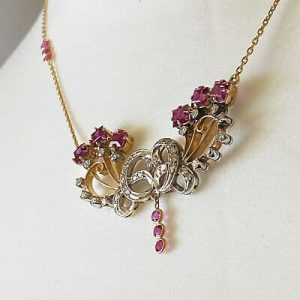 French 18ct,18k, 750 Gold Ruby & Diamond lavaliere, necklace, Length 16.75/43 cm
