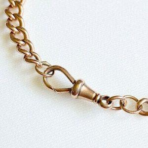 """Edwardian 9ct, 9k, 375 Rose Gold curb link bracelet with padlock, 7"""" 18cm, 14.7g"""