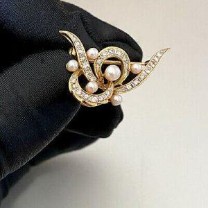 Stunning, Vintage 14ct, 14k, 585 Gold, Diamond & Cultured Pearl cluster brooch