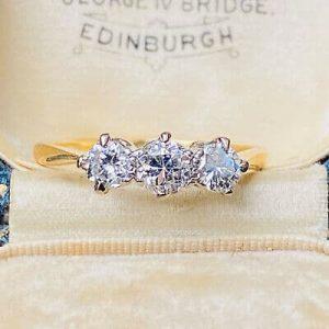 Art Deco, 18ct, 18k, 750 Gold old-cut Diamond 0.86ct three stone engagement ring