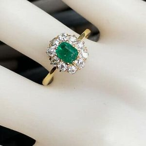 Stunning 14c/14k, 585 Gold Emerald & Diamond (0.95cts) Cluster, engagement ring