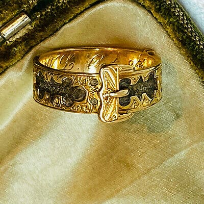 Victorian 15ct, 15k, 625 Gold Buckle, Hair mounted Mourning ring, Dated 1879