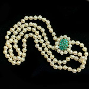 Cultured Pearl, two row necklace on large 14ct Gold Turquoise & pearl clasp