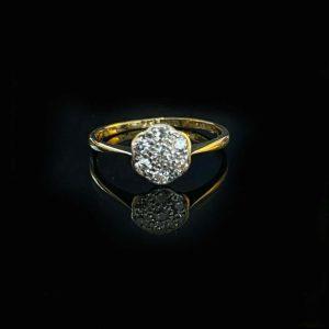 Art Deco, 18k, 18ct, 750 Gold & Platinum Diamond, daisy Cluster engagement ring