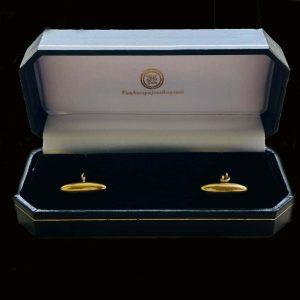 Art Deco 18ct, 18k, 750 Gold torpedo cufflinks in new box, Circa 1920