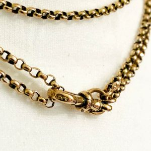"Edwardian 9ct, 9k, 375 Gold Muff, guard, belcher link chain, length 60""/152.4cm"