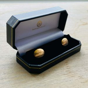 Art Deco 9ct, 9k, 375 Gold engine turned cufflinks in new box, 3.2 grams