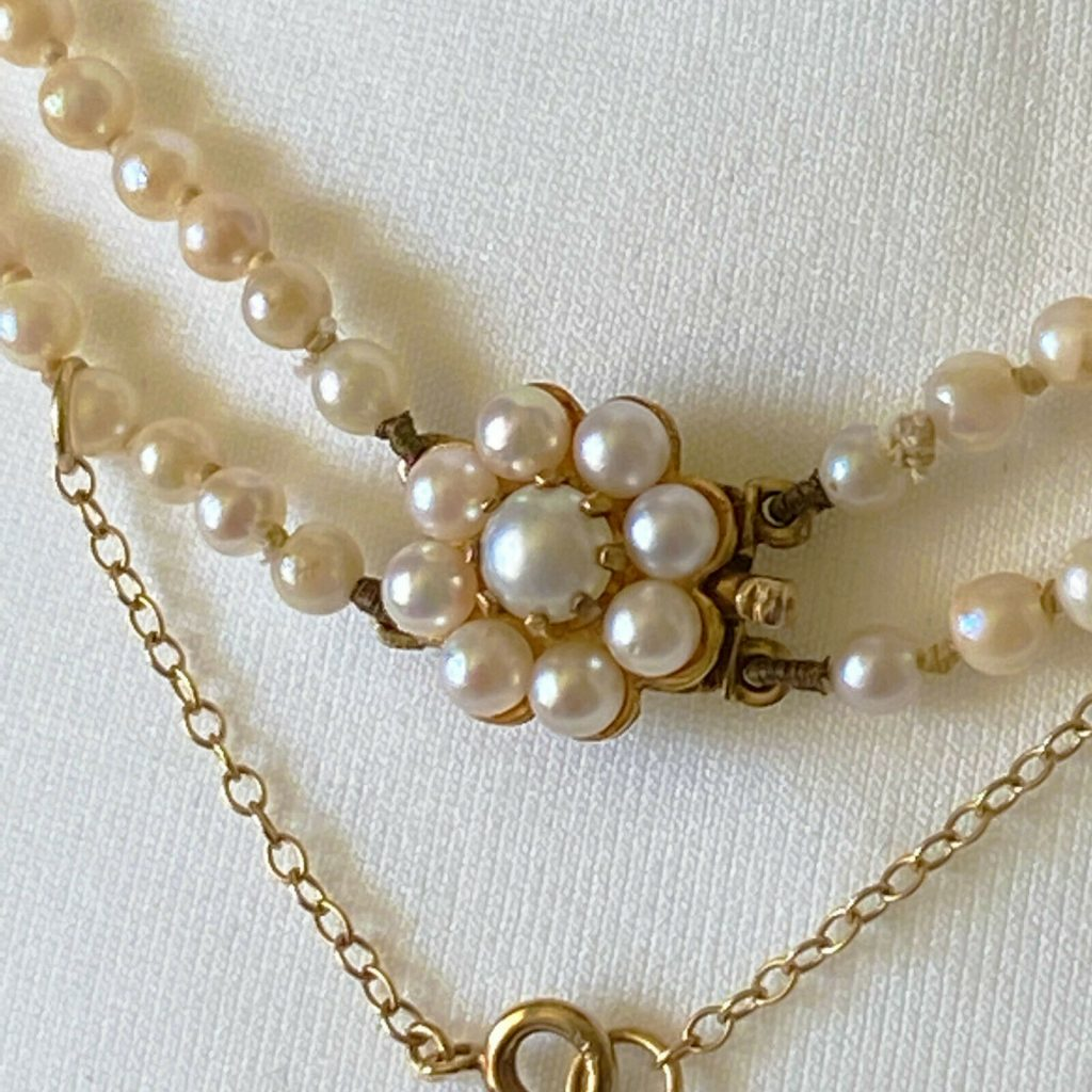 Classic, Cultured Saltwater Pearl 2 row necklace on 9ct Pearl cluster clasp