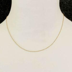 Fine, 9ct, 9k, 375 Gold rolo link chain, suitable for light pendants & charms