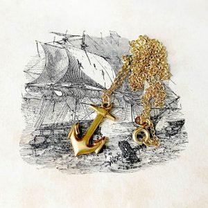 Vintage 9ct, 9k, 375 yellow gold anchor pendant charm, 20x10mm