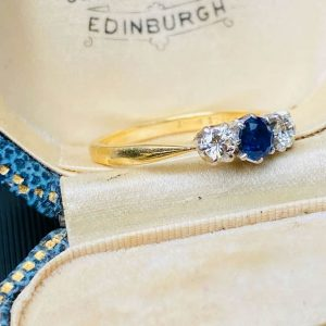 Art Deco 18ct, 18k, 750 Gold & Platinum Sapphire & Diamond Engagement ring C1935