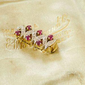 Vintage 14k/14ct,585 Gold Ruby & Diamond Pearl Clasp/Catch for necklace/bracelet