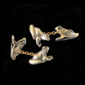 Sterling Silver & 9ct Gold Diamond frog cufflinks in new leatherette box