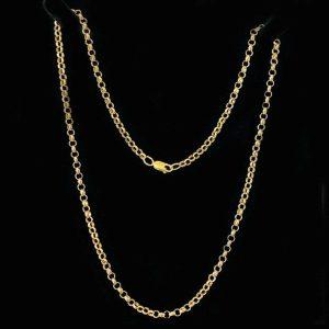 Fine, Vintage 9ct, 9k, 375 Rose Gold fancy, double link Belcher chain C1990