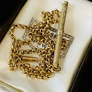 Edwardian 9ct, 9k, 375 Gold, belcher link chain with propelling pencil pendant