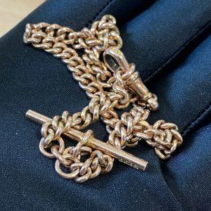 Edwardian 9ct, 9k, 375 Rose Gold Albert chain, T-bar & Dog clip fittings C1910