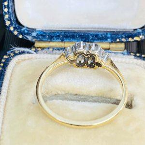 Art deco, 18ct, 18k, 750 Gold & Platinum Diamond 0.40ct, cluster engagement ring