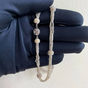 Edwardian, natural, saltwater basra pearl necklace on 14ct gold C1901