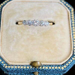 Antique Edwardian 18ct, 18k, 750 Gold Diamond 0.45ct Five Stone Ring, Circa 1901