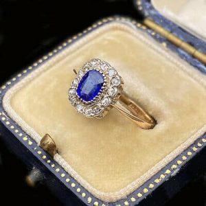 Victorian 18ct, 18k, 750 Sapphire and diamond cluster ring, Circa 1880