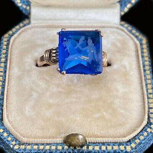 "Vintage 9ct, 9k, 375 Rose Gold Intaglio ""Mermaid"" blue glass Ring, Maker S&W"