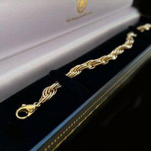 Vintage, 9ct, 9k, 375 Gold, solid rope link bracelet with lobster clasp fitting