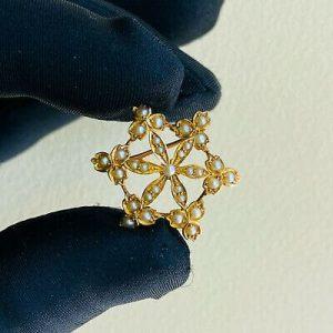Edwardian 9ct, 9k, 375 Gold Pearl Snowflake, cluster brooch, Pendant C1905