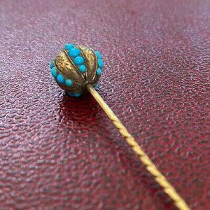 Victorian 14ct, 14kt, 585 Gold Turquoise globe Stick, tie, cravat pin, C1890