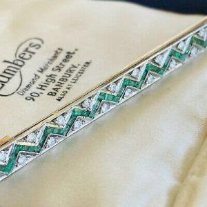 Art Deco 18ct/18k Gold & Platinum, Emerald & Diamond 2.00ct chevron bar brooch