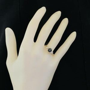 Vintage 18ct, 18k, 750 Gold Sapphire & Diamond trilogy engagement Ring C1970