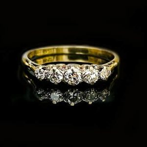 Antique Edwardian 18ct, 18k, 750 Gold & Diamond 0.40ct Five Stone Ring C1901