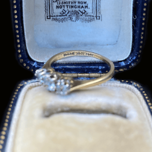 Edwardian 18ct, 18k, 750 Gold Diamond 0.50ct three stone Ring, Circa 1901