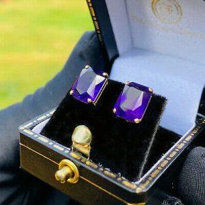 Vintage pair of 9ct, 9k, 375 Gold Amethyst Stud Earrings, post & scroll fittings