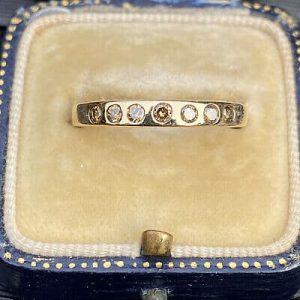 Pretty 9ct, 9k, 375 gold, Champagne Diamond, stacker, eternity ring